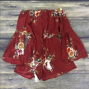 Pants - Burgundy maroon red Floral Romper Playsuit Print